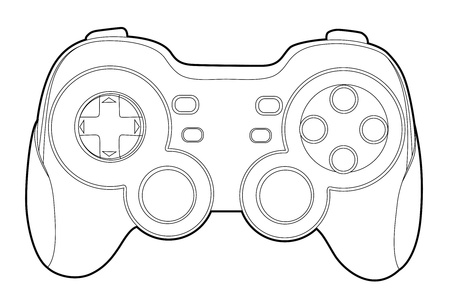 controllers: Black outline gamepad on white bakcground (vector illustration) Illustration