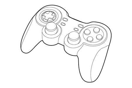 gamepad: Black outline gamepad on white bakcground (vector illustration) Illustration