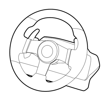 steering wheel simulator for pc games on white background Stock Vector - 9267734