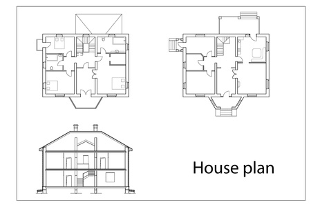 floor plan: vector House Plans. black outlines on white background