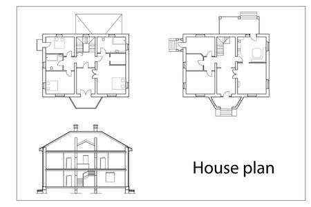 piano di progetto: vettoriali House Plans. contorni neri su sfondo bianco