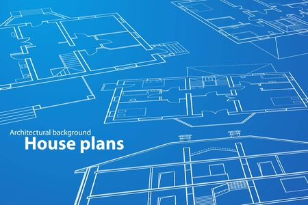 vector House Plans. White outlines on blue background Stock Vector - 9267726