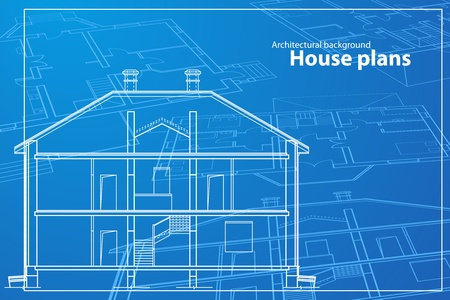 single family home: vector House Plans. White outlines on blue background