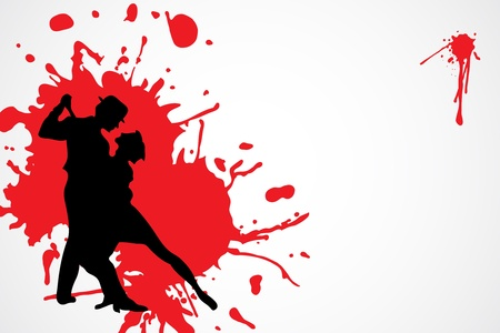 dancing People witn paint splashes (vector illustration) Vector