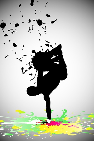 clubber: dancing People witn paint splashes (vector illustration) Illustration