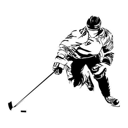 ice arena: hockey players silhouette on light background Illustration