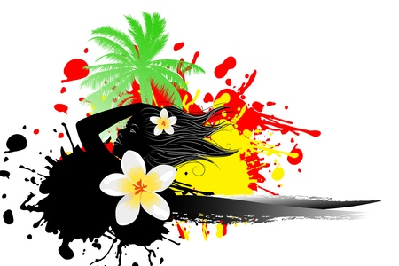 Tropical abstract background (palm, flower, sun) illustration Stock Vector - 9510463