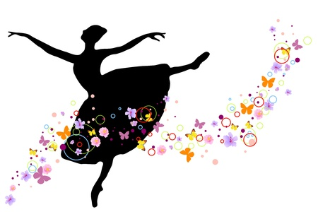 graceful: silhouette of ballerina with flowers on white background