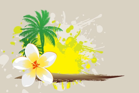 Tropical abstract background (palm, flower, sun) illustration