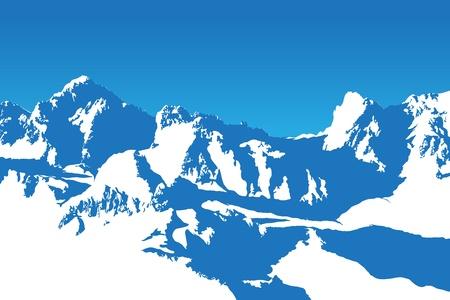 peaks: Beautifull winter mountain silhouette (background illustration) Illustration