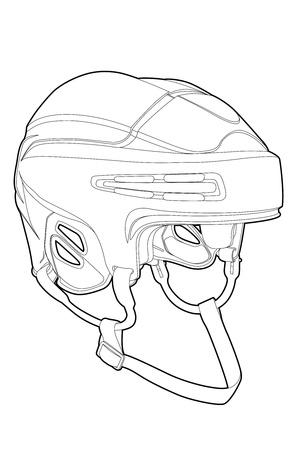protective helmets: Maschera contorno di hockey su sfondo bianco (illustrazione)