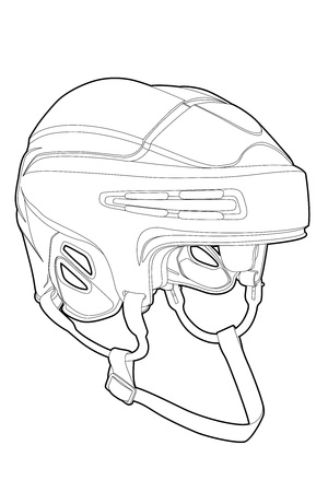 hockey equipment: Outline hockey mask on white background (illustration) Illustration