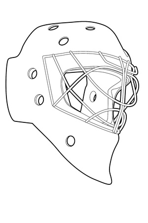 protective clothing: Outline hockey mask on white background (illustration) Illustration