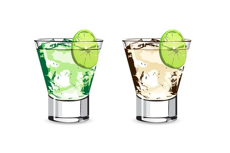 fresh Lime coctail on white background Vector