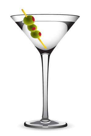 martini with olives on white background