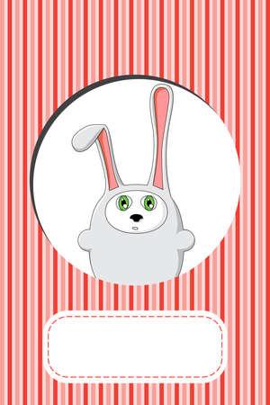 cute rabbit gift card design  Vector