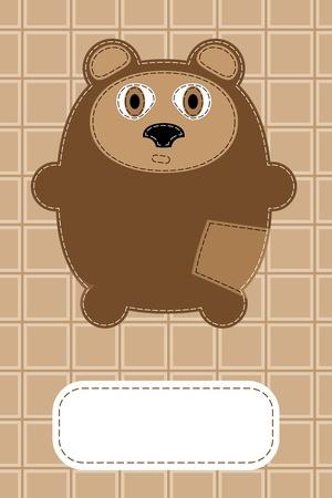 hand drawn bear gift card design Vector