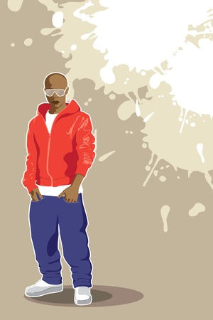 urban poster (man on light background) Vector