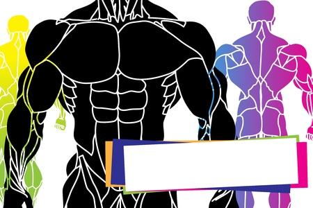 trizeps: ein starker Mann Silhouette Illustration