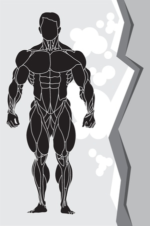 muscle arm: a strong man silhouette Illustration