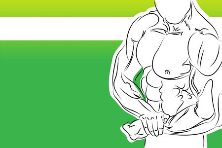 fit body: a strong man silhouette Illustration