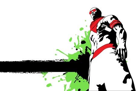 hip hop dance pose: ilustraci�n vectorial (hombre sobre fondo blanco sucio)