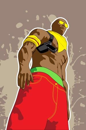 baile hip hop: ilustraci�n vectorial (hombre en fondo de color marr�n sucio)