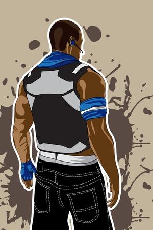 mann bad: Vektor-Illustration (Man auf dirty braun Hintergrund) Illustration