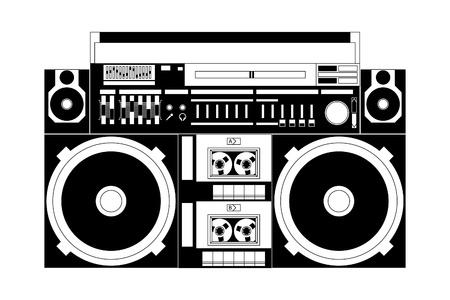 equipo de sonido: imagen vectorial de un clásico boombox