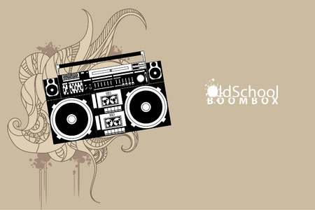 stereo cut: vector image of a classic boombox