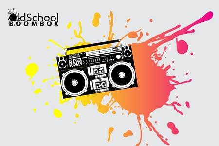 portable audio: vector image of a classic boombox