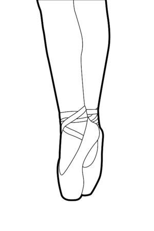 legs stockings: Vector balletto pantofole su sfondo bianco