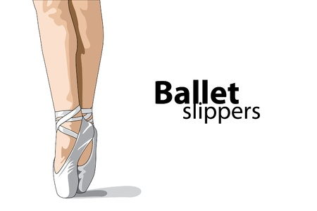 legs stockings: vector ballet slippers on white background Illustration