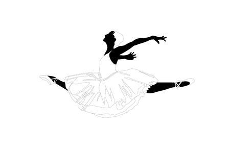 vector silhouette of a ballerina on white background Stock Vector - 9624002