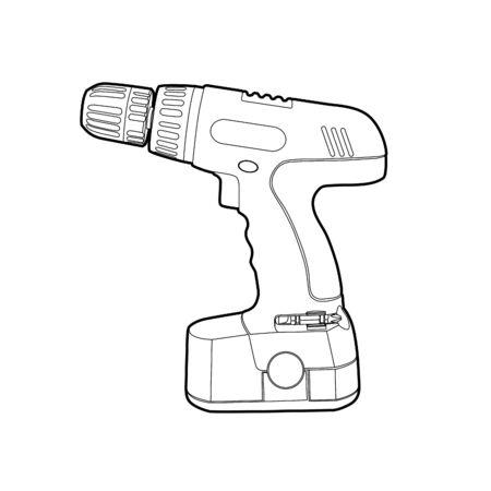 vector blsck outline cordless drill on white Vector