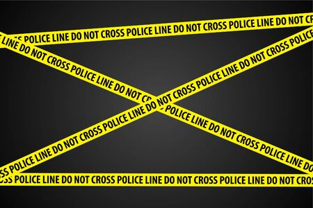Police line (do not cross) on black background Vector