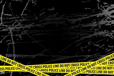 uccidere: Linea di polizia (non attraversare) su sfondo nero Vettoriali