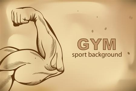 脊椎: 腕の筋肉 (スケッチ マン白手)  イラスト・ベクター素材