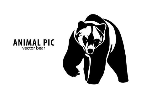 bear silhouette: un orso su sfondo bianco Vettoriali