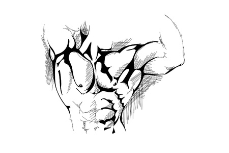 triceps: hand draw strong man on white background