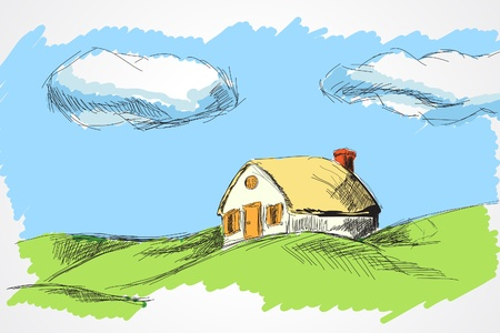 family outside: hand draw house in the meadow  Illustration