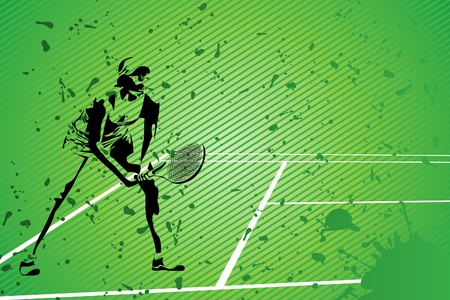 the court: tennis vector illustration (silhouette of a girl on green background) Illustration