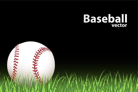 baseball field: illustration of a Basball (ball on green grass)