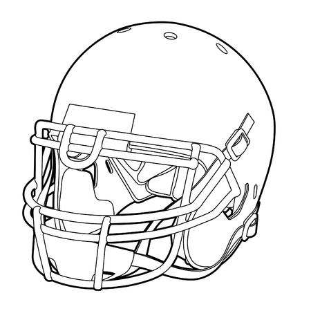 football helmet: American football helmet (outline vector illustration) Illustration