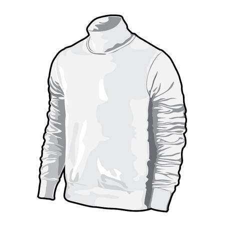 white long sleeve: Vector polo shirt on white background