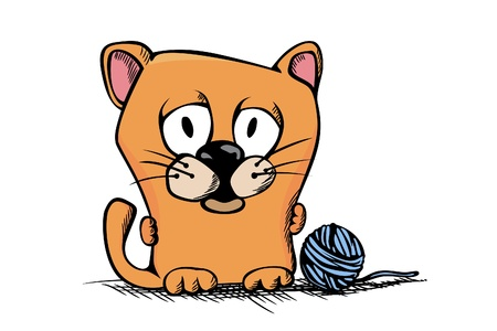 Cute cartoon kitty on white background Vector