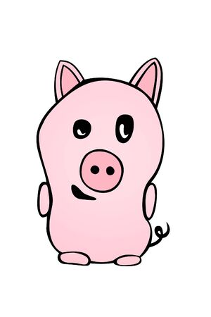 oink: piggy on white background