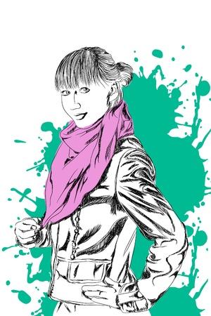 portrait young girl studio: Beautiful Fashion lady on white background