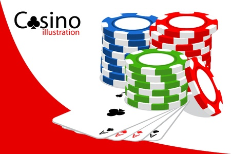 casino chips: Casino (some chips on white background)
