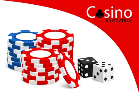chips stack: Casino illustration (some chips on white background) Illustration